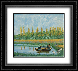 Chasse aux canards 22x20 Black or Gold Ornate Framed and Double Matted Art Print by Louis Vivin