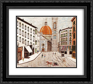 Florence 22x20 Black or Gold Ornate Framed and Double Matted Art Print by Louis Vivin