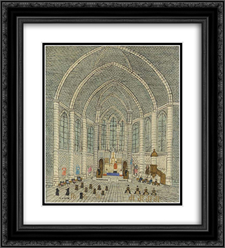 Interieur d'eglise 20x22 Black or Gold Ornate Framed and Double Matted Art Print by Louis Vivin