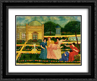 La main chaude 24x20 Black or Gold Ornate Framed and Double Matted Art Print by Louis Vivin