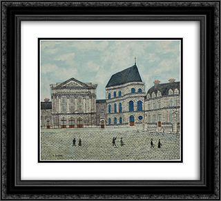 Le chateau de Versailles 22x20 Black or Gold Ornate Framed and Double Matted Art Print by Louis Vivin