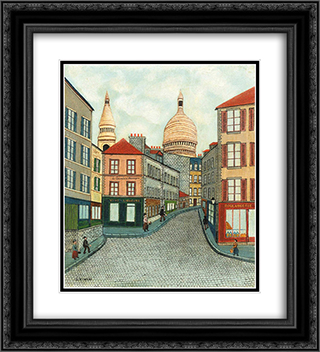 Le Consult d'Auvergne et Le Sacre-Couer 20x22 Black or Gold Ornate Framed and Double Matted Art Print by Louis Vivin