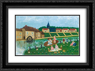 Le dejeuner sur l'herbe 24x18 Black or Gold Ornate Framed and Double Matted Art Print by Louis Vivin