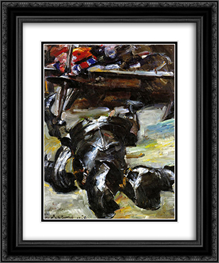 Armor in the Studio 20x24 Black or Gold Ornate Framed and Double Matted Art Print by Lovis Corinth