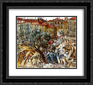Building under Construction in Monte Carlo 22x20 Black or Gold Ornate Framed and Double Matted Art Print by Lovis Corinth