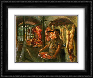Butcher Shop 24x20 Black or Gold Ornate Framed and Double Matted Art Print by Lovis Corinth