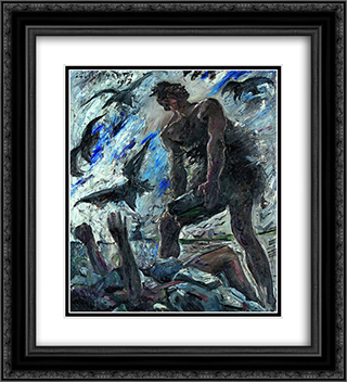 Cain 20x22 Black or Gold Ornate Framed and Double Matted Art Print by Lovis Corinth