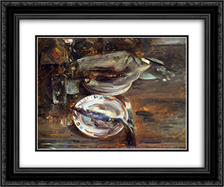 Cat's Breakfast 24x20 Black or Gold Ornate Framed and Double Matted Art Print by Lovis Corinth
