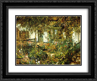 Farmyard in Bloom 24x20 Black or Gold Ornate Framed and Double Matted Art Print by Lovis Corinth