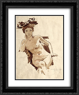 Female Semi-Nude with Hat 20x24 Black or Gold Ornate Framed and Double Matted Art Print by Lovis Corinth