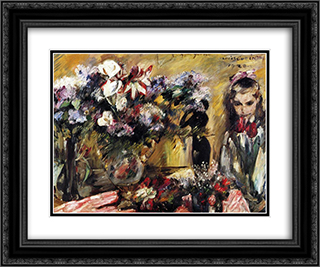 Flowers and Wilhelmine 24x20 Black or Gold Ornate Framed and Double Matted Art Print by Lovis Corinth