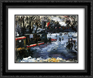 Ice Skating Rink in The Tiergarten-Berlin 24x20 Black or Gold Ornate Framed and Double Matted Art Print by Lovis Corinth