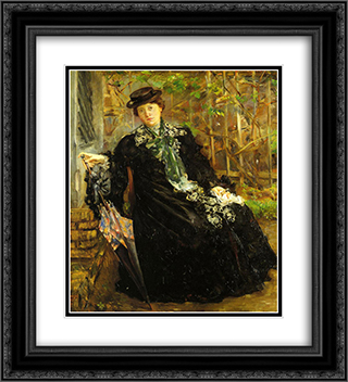 In a Black Coat 20x22 Black or Gold Ornate Framed and Double Matted Art Print by Lovis Corinth