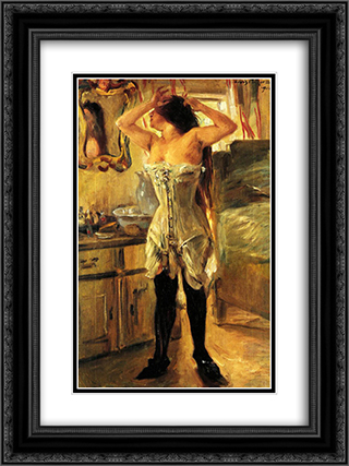 In a Corset 18x24 Black or Gold Ornate Framed and Double Matted Art Print by Lovis Corinth