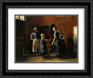 In the Fisherman's House 24x20 Black or Gold Ornate Framed and Double Matted Art Print by Lovis Corinth
