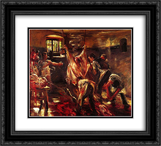In the Slaughter House 22x20 Black or Gold Ornate Framed and Double Matted Art Print by Lovis Corinth