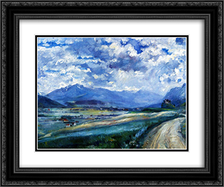 Inn Valley Landscape 24x20 Black or Gold Ornate Framed and Double Matted Art Print by Lovis Corinth
