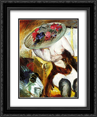 Italian Woman in a Yellow Chair 20x24 Black or Gold Ornate Framed and Double Matted Art Print by Lovis Corinth