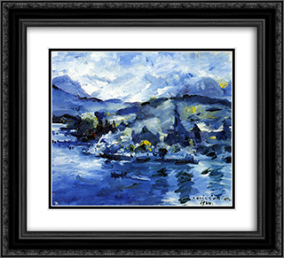 Lake Lucerne-Afternoon 22x20 Black or Gold Ornate Framed and Double Matted Art Print by Lovis Corinth
