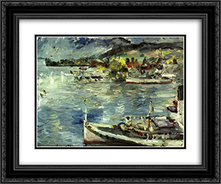 Lake Lucerne-Morning 24x20 Black or Gold Ornate Framed and Double Matted Art Print by Lovis Corinth