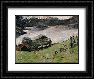 Landscape at the Walchensee 24x20 Black or Gold Ornate Framed and Double Matted Art Print by Lovis Corinth