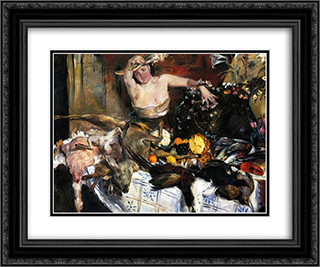Large Still Life with Figure 24x20 Black or Gold Ornate Framed and Double Matted Art Print by Lovis Corinth