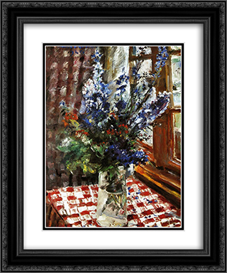 Larkspur 20x24 Black or Gold Ornate Framed and Double Matted Art Print by Lovis Corinth