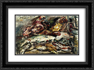 Meat and Fish at Hiller's Berlin 24x18 Black or Gold Ornate Framed and Double Matted Art Print by Lovis Corinth