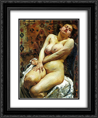 Nana-Female Nude 20x24 Black or Gold Ornate Framed and Double Matted Art Print by Lovis Corinth