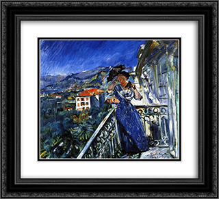 On the Balcony in Bordighera 22x20 Black or Gold Ornate Framed and Double Matted Art Print by Lovis Corinth