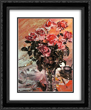 Pink Roses 20x24 Black or Gold Ornate Framed and Double Matted Art Print by Lovis Corinth