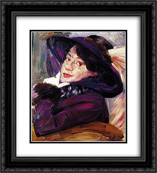 Portrait of a Woman in a Purple Hat 20x22 Black or Gold Ornate Framed and Double Matted Art Print by Lovis Corinth