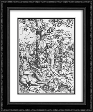 Adam and Eve in Paradise 20x24 Black or Gold Ornate Framed and Double Matted Art Print by Lucas Cranach the Elder