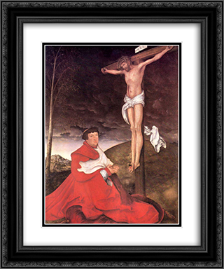 Albert, Cardinal Elector of Mainz at the foot of the Cross 20x24 Black or Gold Ornate Framed and Double Matted Art Print by Lucas Cranach the Elder