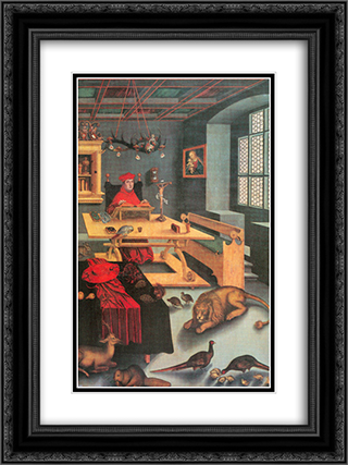 Albrecht of Brandenburg as St. Jerome in his study 18x24 Black or Gold Ornate Framed and Double Matted Art Print by Lucas Cranach the Elder