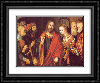 Christ and the Adulteress 24x20 Black or Gold Ornate Framed and Double Matted Art Print by Lucas Cranach the Elder