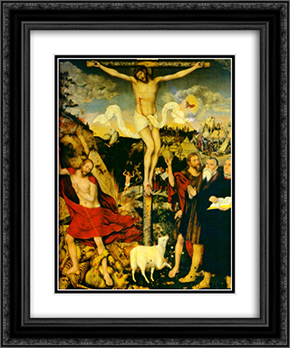 Christ as Savior with Martin Luther 20x24 Black or Gold Ornate Framed and Double Matted Art Print by Lucas Cranach the Elder