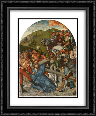 Christ Carrying the Cross 20x24 Black or Gold Ornate Framed and Double Matted Art Print by Lucas Cranach the Elder
