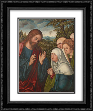 Christ taking leave of his mother 20x24 Black or Gold Ornate Framed and Double Matted Art Print by Lucas Cranach the Elder