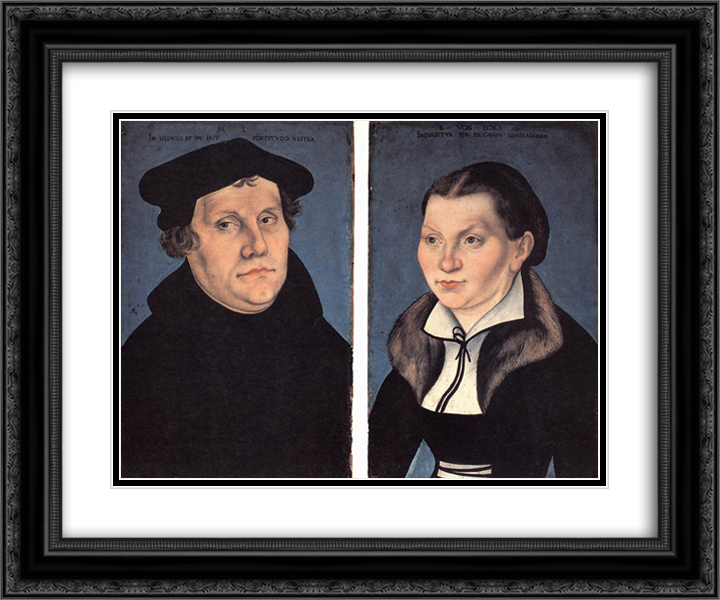 Diptych with the Portraits of Martin Luther and his Wife 24x20 Black or Gold Ornate Framed and Double Matted Art Print by Lucas Cranach the Elder