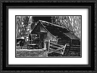 Algoma Sunday 24x18 Black or Gold Ornate Framed and Double Matted Art Print by Lynd Ward