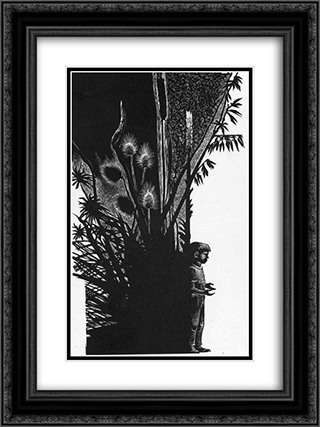 Boy Without Flower 18x24 Black or Gold Ornate Framed and Double Matted Art Print by Lynd Ward