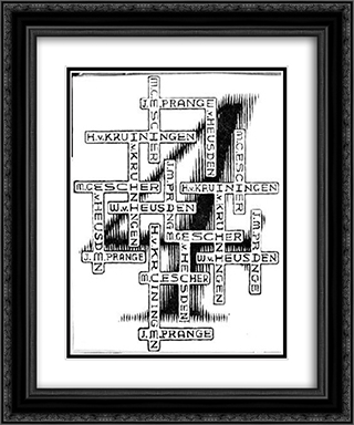 4 Graphic Artists 20x24 Black or Gold Ornate Framed and Double Matted Art Print by M.C. Escher