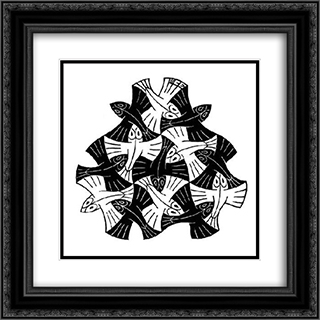 7 Black and 6 White Fishes 20x20 Black or Gold Ornate Framed and Double Matted Art Print by M.C. Escher