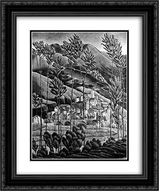 Alfedena Abruzzi 20x24 Black or Gold Ornate Framed and Double Matted Art Print by M.C. Escher