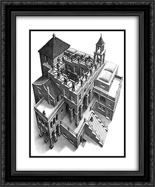 Ascending & Descending 20x24 Black or Gold Ornate Framed and Double Matted Art Print by M.C. Escher