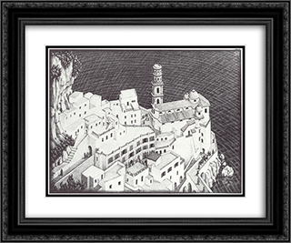 Atrani, Coast of Amalfi 24x20 Black or Gold Ornate Framed and Double Matted Art Print by M.C. Escher