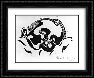 Baby 24x20 Black or Gold Ornate Framed and Double Matted Art Print by M.C. Escher