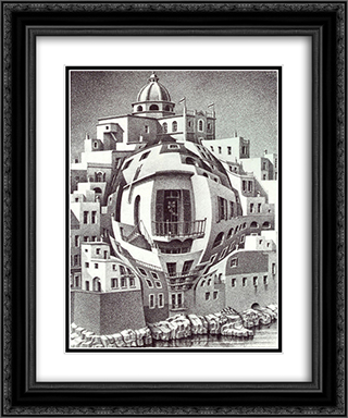 Balcony 20x24 Black or Gold Ornate Framed and Double Matted Art Print by M.C. Escher
