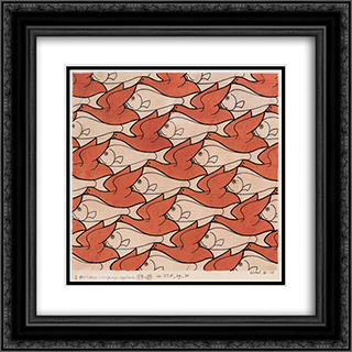 Bird Fish 20x20 Black or Gold Ornate Framed and Double Matted Art Print by M.C. Escher